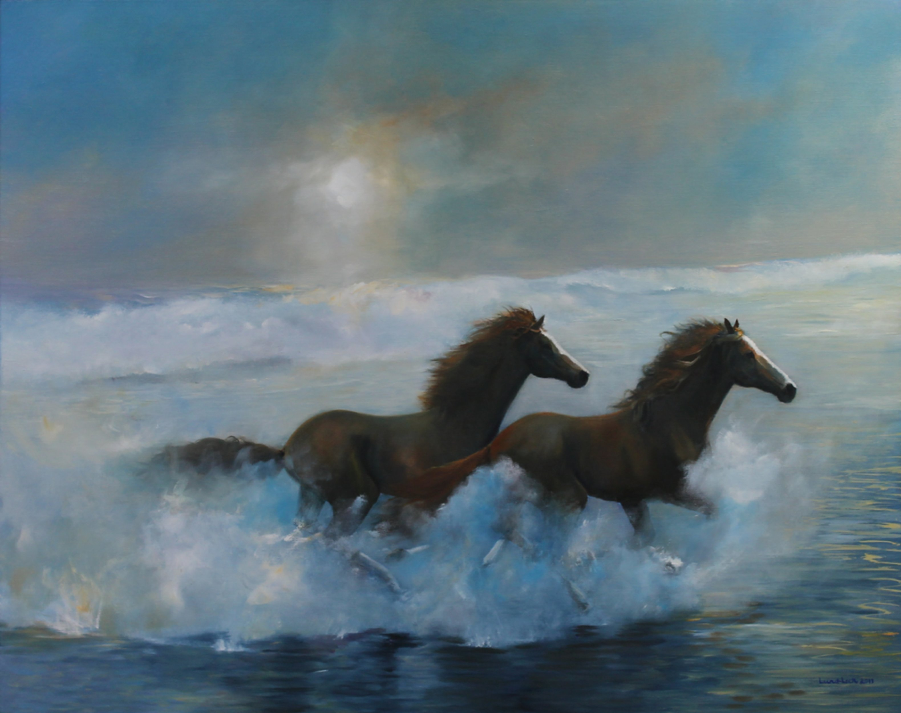 Tom Lund-lack: 'Free Spirits', 2013 Oil Painting, Equine. Artist Description:     This painting is in the Waterside Fine Art Gallery, 7 Waterside, Stratford- on- Avon, UK. Two wild horses - a powerful illustration of freedom - wide beach & surf increase the sense of a place far, far away, perhaps this is somewhere we would all like to be!  ...