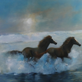 Tom Lund-lack: 'Free Spirits', 2013 Oil Painting, Equine. Artist Description: Two wild horses - a powerful illustration of freedom - wide beachsurf increase the sense of a place far, far away, perhaps this is somewhere we would all like to be ...