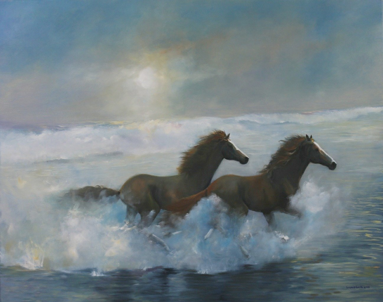 Tom Lund-lack: 'Free Spirits', 2013 Oil Painting, Equine. A powerful illustration of freedom. ...