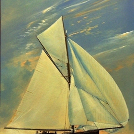 Tom Lund-lack: 'Ghosting', 2010 Oil Painting, Sailing. Artist Description:  A painting based on a picture taken in 1910 of a yacht named Bloodhound. The sea and sky are a product of the artist's imagination and aim to reflect a very warm evening with hardly any wind and the yacht with all her sails spread is ghosting ...