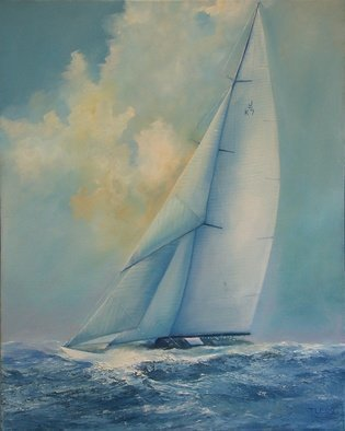 Tom Lund-lack: 'Hard Blow', 2008 Reproduction Artwork, Sailing.  Valsheda in her original rig and hull colour.  I got the idea for this painting from a contemporary black and white photograph taken perhaps in the early 1930's. I researched the history of the yacht and reproduced it as an oilo painting.  The original is in a private collection...