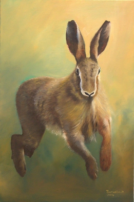 Wildlife Oil Painting by Tom Lund-lack titled: Hare Running, created in 2014