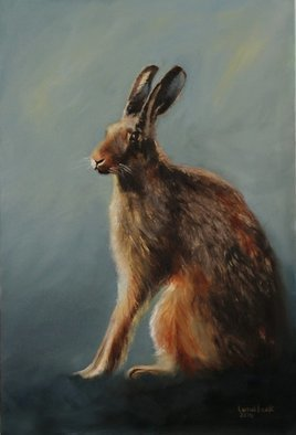 Wildlife Oil Painting by Tom Lund-lack titled: Hare resting, created in 2014