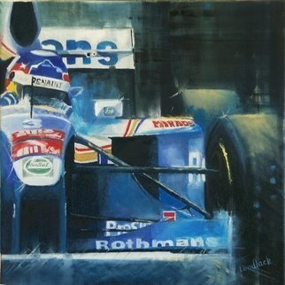 Tom Lund-lack: 'High Point', 2009 Oil Painting, Automotive.  Whilst a generic painting of the drama of F1 racing, this small box canvas nevertheless represents Jacques Villenueve at the wheel of the Renault when he won the F1 title in 1997. ...