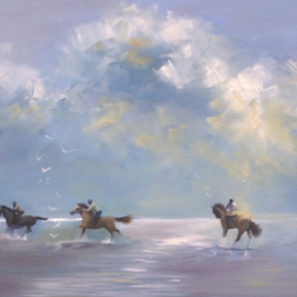 Tom Lund-lack: 'Holkham Riders', 2015 Oil Painting, Beach. Artist Description: Riders having fun on the vast expanse of Holkham Beach in Norfolk.  Sold at a charity auction for USD2415 on 3rd February 2018. ...