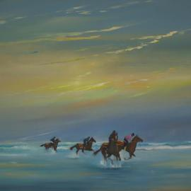 Tom Lund-lack: 'Horses being exercised on Holkham Beach', 2012 Oil Painting, Landscape. Artist Description:  In Norfolk there are huge flat and hard sandy beaches that are ideal for galloping horses. In that area are a number of studs and they exercise their horses on it who wouldnt like to do the same. This is set in the early morning with the spray ...
