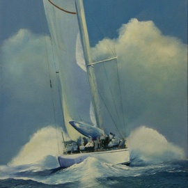 Tom Lund-lack: 'In Her Element', 2010 Oil Painting, Sailing. Artist Description:   This painting is based on a photograph that was taken in 2004. The sea and sky have been radically altered to reflect the power and displacement of water by a very large yacht travelling at speed. The shape of the bow wave and the shape of the clouds ...