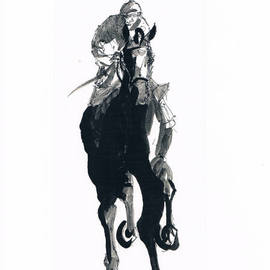 Tom Lund-lack: 'Jockey study No 1', 2012 Ink Painting, Equine. Artist Description:  One of a series of ten studies exploring the movement of horses. The freedom that is sometimes expressed in the study reflects the loose brush and pen strokes used to create the piece. All these studies are in Indian ink on paper and are signed and dated. They ...