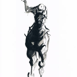 Tom Lund-lack: 'Jockey study No 2', 2012 Ink Painting, Equine. Artist Description:  One of a series of ten studies exploring the movement of horses. The freedom that is sometimes expressed in the study reflects the loose brush and pen strokes used to create the piece. All these studies are in Indian ink on paper and are signed and dated. They ...