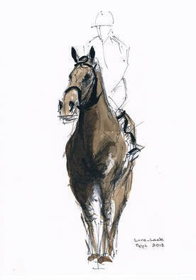 Tom Lund-lack: 'Jockey study No 3', 2012 Ink Painting, Equine.   One of a series of ten studies exploring the movement of horses.  The freedom that is sometimes expressed in the study reflects the loose brush and pen strokes used to create the piece. All these studies are in Indian ink on paper and are signed and dated.  They are all...