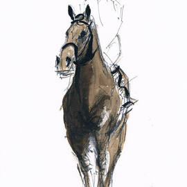 Tom Lund-lack: 'Jockey study No 3', 2012 Ink Painting, Equine. Artist Description:   One of a series of ten studies exploring the movement of horses.  The freedom that is sometimes expressed in the study reflects the loose brush and pen strokes used to create the piece. All these studies are in Indian ink on paper and are signed and dated.  They ...