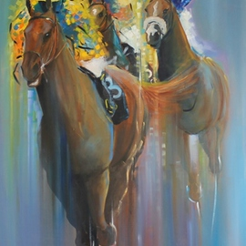 Tom Lund-lack: 'Last Furlong', 2012 Oil Painting, Equine. Artist Description: Jockeys and thoroughbreds in a tight group, the broken shapes aim to create the feel of speed and to make the work an abstract of the real thing....