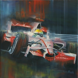 Tom Lund-lack: 'Mclaren 2008', 2009 Oil Painting, Automotive. Artist Description:  A generic painting of the drama of Formula 1, using the 2008 Mclaren as driven by Lewis Hamilton as the motif.  This is a reworked image too which I have tried to incorporate elements of graphic design. ...