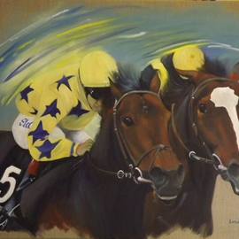 Tom Lund-lack: 'Neck and Neck', 2011 Oil Painting, Equine. Artist Description: This oil painting, taken from a press photograph, depicts Lightening Pearl winning the Chevely Park Stakes at Newmarket 2011. Some artists licence has been taken with reality. ...