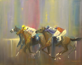 Artist: Tom Lund-lack - Title: Odds On Favourite Four to Two - Medium: Oil Painting - Year: 2014