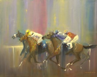 Tom Lund-lack: 'Odds On Favourite Four to Two', 2014 Oil Painting, Equine. Artist Description:  Pace, colour  movement of racehorses and jockeys are the subject of this oil on canvas. Typical of my style, this time with a touch of humour the four to two being the obviously the numbers on the two visible horses. ...