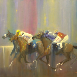 Tom Lund-lack: 'Odds On Favourite Four to Two', 2014 Oil Painting, Equine. Artist Description:  Pace, colourmovement of racehorses and jockeys are the subject of this oil on canvas.  Typical of my style, this time with a touch of humour the four to two being the obviously the numbers on the two visible horses. ...