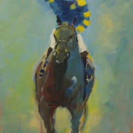 Tom Lund-lack: 'Oil Sketch Blue and Yellow Jockey', 2012 Oil Painting, Equine. Artist Description:     Pace, colour & movement of racehorse and jockey are the subject of this oil on board.     ...