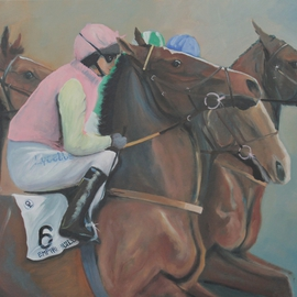 Tom Lund-lack: 'Out of the Gate', 2015 Oil Painting, Sports. Artist Description:  A painting created as a wedding gift. George is a point to point jockey riding his family horse Empire Builder. ...