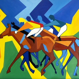 Tom Lund-lack: 'Primary Colours 2', 2011 Oil Painting, Equine. Artist Description:  Another abstract cubist piece explores the relationship between reality and imagination and the boundary between the real and unreal. ...