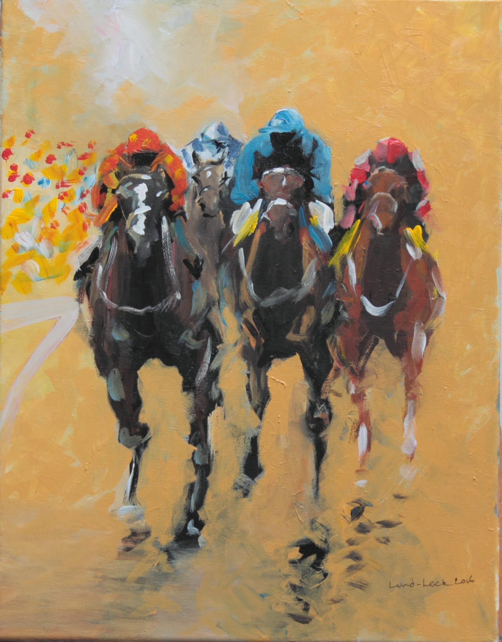 Tom Lund-lack: 'Racing Colours', 2016 Acrylic Painting, Equine. This very contemporary painting was completed very quickly about 4 hours the aim being to use simple shapes combined together to make a figurative image.  The subject matter - horse racing becomes obvious the further away from the painting one gets.  The energy I put into this piece I hope reflects ...