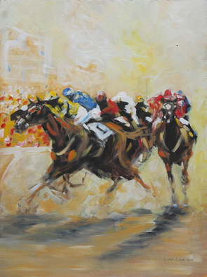 Tom Lund-lack Artwork Racing Colours 2, 2016 Oil Painting, Equine