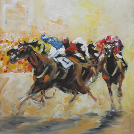Tom Lund-lack: 'Racing Colours 2', 2016 Acrylic Painting, Equine. Artist Description: This very contemporary painting was completed very quickly about 4 hours the aim being to use simple shapes combined together to make a figurative image.  The subject matter - horse racing becomes obvious the further away from the painting one gets.  The energy I put into this piece I ...