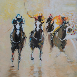 Tom Lund-lack: 'Racing Colours 3', 2016 Oil Painting, Equine. Artist Description:  Contemporary racing painting painting was using thicj applications of oil paint to bring out the drama, colours and excitiment of racing. ...