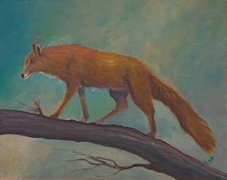 Tom Lund-lack: 'Red Fox', 2017 Oil Painting, Wildlife. Red Fox climbing the trunk of a fallen tree. I wanted to portray the beauty of the coat as well as the sharp predatory nature of the animal. ...