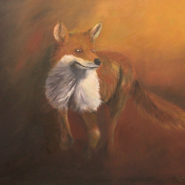 Tom Lund-lack: 'Reynard', 2014 Oil Painting, Wildlife. Artist Description:    The Fox an essential part of British wildlife, common everywhere. Intelligence and exceptional agility are a hallmark of this species, which are not always valued for their beauty.  In this piece Reynard is pretty pleased with himself - chickens of the horizon perhaps! ...