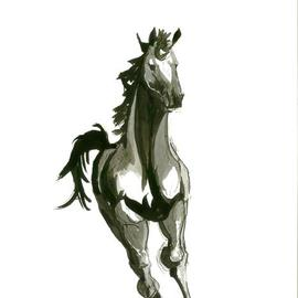 Tom Lund-lack: 'Running Horse No 3', 2012 Ink Painting, Equine. Artist Description:  One of a series of ten studies exploring the movement of horses.  The freedom that is sometimes expressed in the study reflects the loose brush and pen strokes used to create the piece.  All these studies are in Indian ink on paper and are signed and dated.  They ...