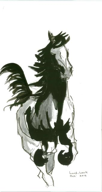 Artist Tom Lund-Lack. 'Running Horse No 1' Artwork Image, Created in 2012, Original Painting Ink. #art #artist