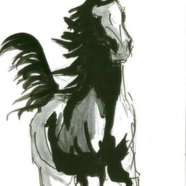 Tom Lund-lack: 'Running Horse no 1', 2012 Ink Painting, Equine. Artist Description: One of a series of ten studies exploring the movement of horses. The freedom that is sometimes expressed in the study reflects the loose brush and pen strokes used to create the piece. All these studies are in Indian ink on paper and are signed and dated. They ...