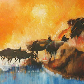 Tom Lund-lack: 'Rush Hour', 2003 Oil Painting, Wildlife. Artist Description: Hot African sunset and the a herd of Widebeest jamming themselves down a gully to cross a river. The paitning is also a dig at the morning rush to work, trying to sqaush ourselves down the Metro stairs!...