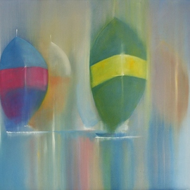 Tom Lund-lack: 'Spinnakers', 2010 Oil Painting, Sailing. Artist Description:    A piece exploring the shapes and colours of spinnakers.  The paint has been dragged wet on wet to create a sense of stillness, yet with a breath of wind and the warmth of the day.  ...