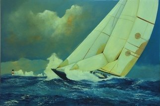 Tom Lund-lack Artwork Squall off the Needles, 2010 Oil Painting, Sailing