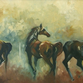 Tom Lund-lack: 'Surprised', 2005 Oil Painting, Equine. Artist Description:  This is an impressionist painting of three horses frightened by an unknown event offstage. The piece is given drama by the vigorous application of thick impasto paint. At the time 2005 it was one of the hardest pieces I had completed, as it was worked entirely from imagination ...