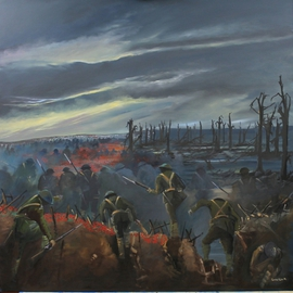 Tom Lund-lack: 'The Ghosts of Doomed Youth', 2013 Oil Painting, War. Artist Description:   This painting commemorates the 100th anniversary of the first world war.  The poignant image, which shows young men going over the top in France is both sad and reflective. The original will be presented to the town of Stowmarket and will be held in the town's Royal ...