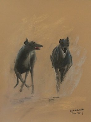 Tom Lund-lack: 'Uninhibted Joy ', 2019 Pastel, Equine. Artist Description: The uninhibited joy of being a grey hound able to run like thewind.  Pastel on 300gsm Mi Teinte pastel paper...
