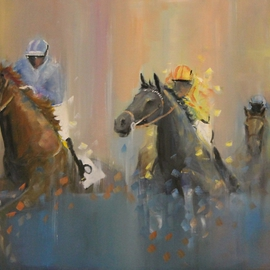 Tom Lund-lack: 'Up and Over', 2015 Oil Painting, Equine. Artist Description:  Jockeys and horses going over the fence, contemporary racing image of National Hunt or Point to Point racing.  ...