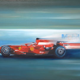 Tom Lund-lack: 'Velocity', 2018 Oil Painting, Automotive. Artist Description:  I could not resist the temptation to paint this very powerful image of a Ferrari, to let rip with the red well actually cadmium red, a cadmium yellow and another colour to get close to the Ferrari colour just had to be done.The Scuderia Ferrari F2008 is ...