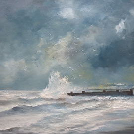 Tom Lund-lack: 'Walk on a winter shore', 2018 Oil Painting, Seascape. Artist Description: A walk on a cold winter day along the shore in Suffolk. The paint has been applied thickly and bullied into place with pallet knives and brushes. The main colours apart from black and white are burnt umber, naples yellow, manganese blue, and a little prussian blue. ...