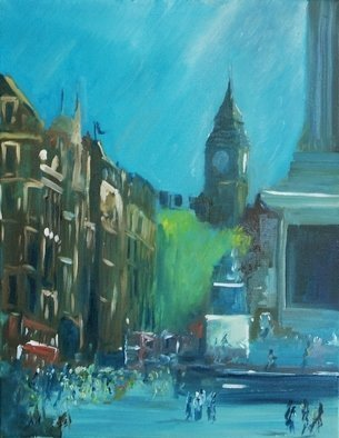 Tom Lund-lack: 'Whitehall afternoon 13 April 2007 ', 2007 Reproduction Artwork, Cityscape. I captured this image on my phone and a few days later cropped the image and then painted it.  It was last time I was with some friends before my life was turned upside down, we had been to the Renoir exhibition at the National Gallery in London and this ...