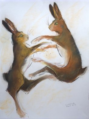 Tom Lund-lack: 'boxing hares 2', 2017 Pastel, Wildlife. This drawing in pastel was one of several that I did in preparation for a commissioned piece. When a visitor bought one I took another look at the sketches and thought they were worth putting up on the web this one is the second and is on white 350gsm pastel ...