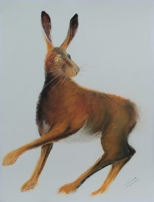 Tom Lund-lack: 'brown hare ready to run', 2017 Pastel, Equine. Artist Description: This commissioned piece was created for a friend who has a great interest in hares.  He wanted a work that had a slightly  edgy  feel to it.  This is end result of several attempts to achieve my aim.  The two boxing hare pastels recently posted are part of ...
