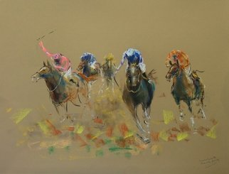 Tom Lund-lack: 'energy 27', 2019 Pastel, Equine. Artist Description: Harder to do than they look, no mistakes allowed.  In this series of pastels the title reflects the energy of the sport of horse racing and the execution of the piece.  The support is 300GSM Mi Teintes pastel paper.  This is a somewhat disorganised field of scattred riders ...