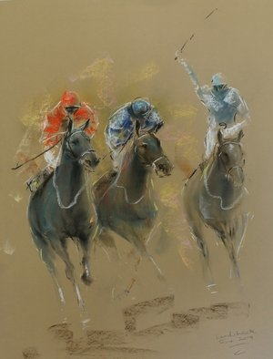 Tom Lund-lack: 'energy 28', 2019 Pastel, Equine. Pastel on Mi- Teinte Touch paper.  a snap shot of the colour and movement of horse racing. ...