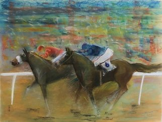 Tom Lund-lack: 'energy 29', 2019 Pastel, Equine. Pastel on Mi- Teinte Touch paper. a snap shot of the colour and movement of horse racing. ...