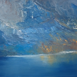 Tom Lund-lack: 'fiord', 2018 Oil Painting, Landscape. Artist Description: Using a palette knife is a great way to get the feeling of the mountainside running down into a fiord. The intense cold was created using cobalt, prussian and manganese blue. I love the way the paint picks up the ridges and forms of the rock. ...