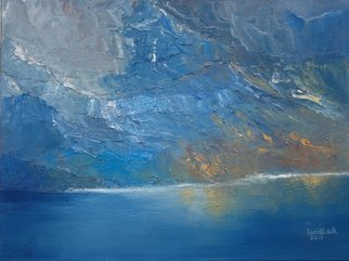 Tom Lund-lack: 'fiord', 2018 Oil Painting, Landscape. Using a palette knife is a great way to get the feeling of the mountainside running down into a fiord.  The intense cold was created using cobalt, prussian and manganese blue.  I love the way the paint picks up the ridges and forms of the rock. ...
